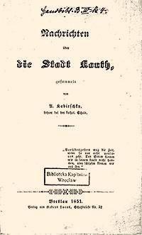 1 A. Kabirschky - Nachrichten über die Stadt Canth Breslau - 1851