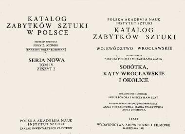 8 P.A.N. - Katalog zabytków sztuki-województwo<br /> wrocławskie Sobótka, Kąty Wrocławskie<br /> i okolice